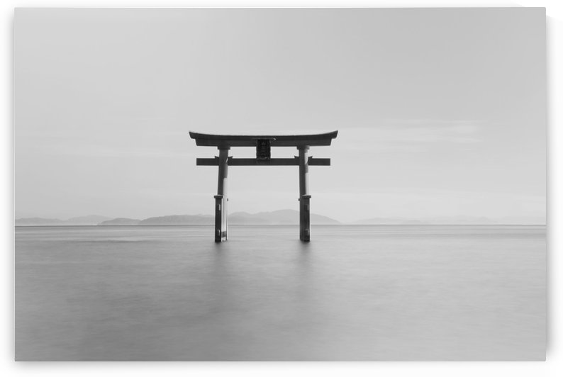 Black and white image of a floating shrine on a lake; Takashiyama, Shiga, Japan by PacificStock