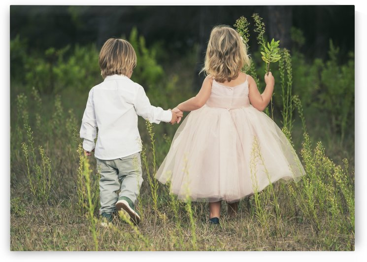 A young boy and young girl holding hands and walking through a field; Tarifa, Cadiz, Andalusia, Spain by PacificStock