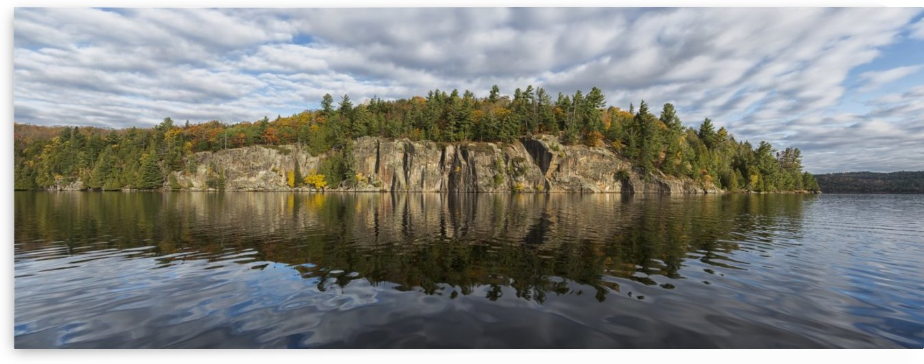 Panoramic view of the cliffs in Rock Lake in autumn, Algonquin Park; Ontario, Canada by PacificStock