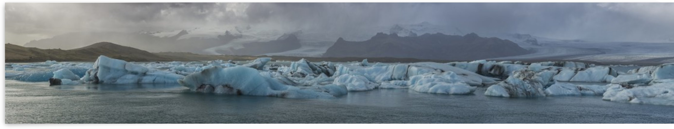 Stitched panoramic image of the Jokulsarlon glacial lagoon along the Southern coast of Iceland; Iceland by PacificStock