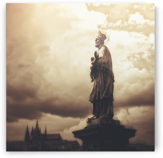 Statue on Karl Bridge; Prague, Czech Republic by PacificStock