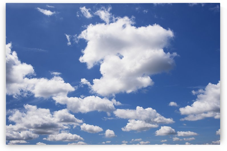 White cumulus clouds in a blue sky; United Kingdom by PacificStock