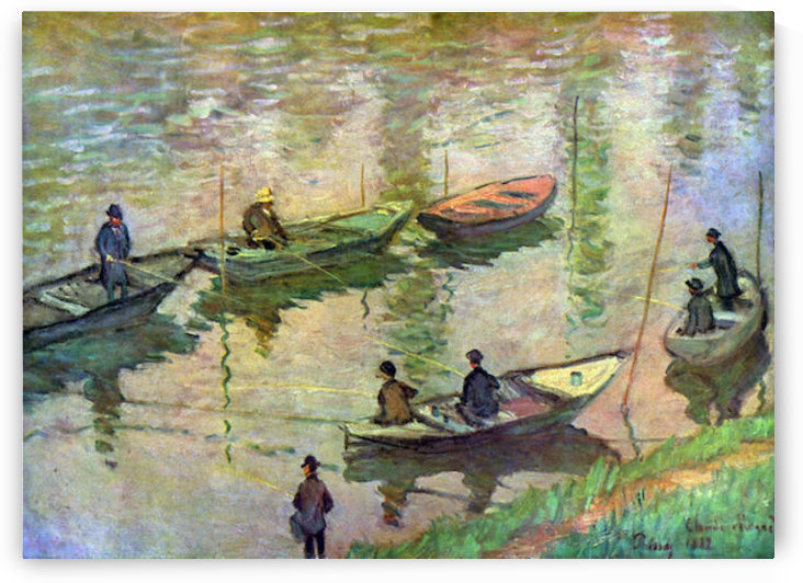 Fishermen on the Seine at Poissy by Monet by Monet