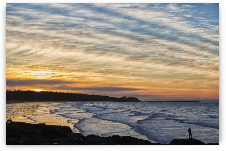 Silhouette of a person standing on a rock along the coast at sunset; Masset, British Columbia, Canada by PacificStock