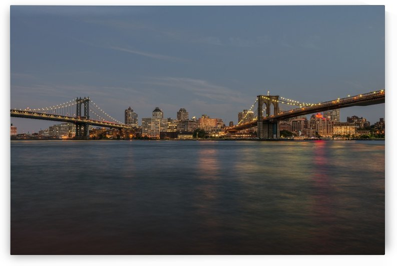 Manhattan and Brooklyn Bridges at sunset; New York City, New York, United States of America by PacificStock