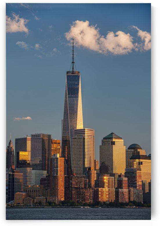 World Trade Center and Lower Manhattan at sunset; New York City, New York, United States of America by PacificStock