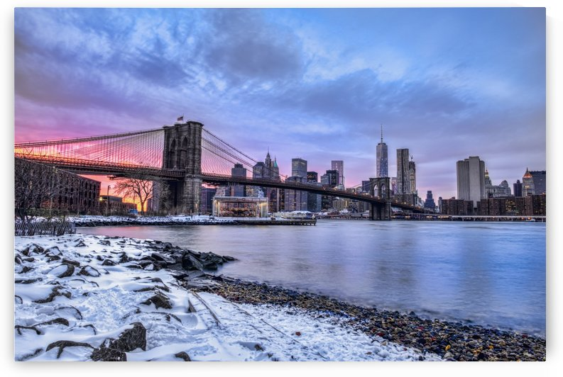 Brooklyn Bridge with snow-covered landscape at sunset, Brooklyn Bridge Park; Brooklyn, New York, United States of America by PacificStock