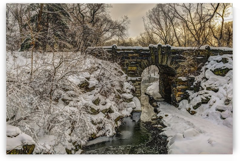 Snow-covered Glen Span Arch, Central Park; New York City, New York, United States of America by PacificStock