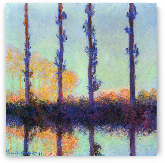 Four poplars by Monet by Monet