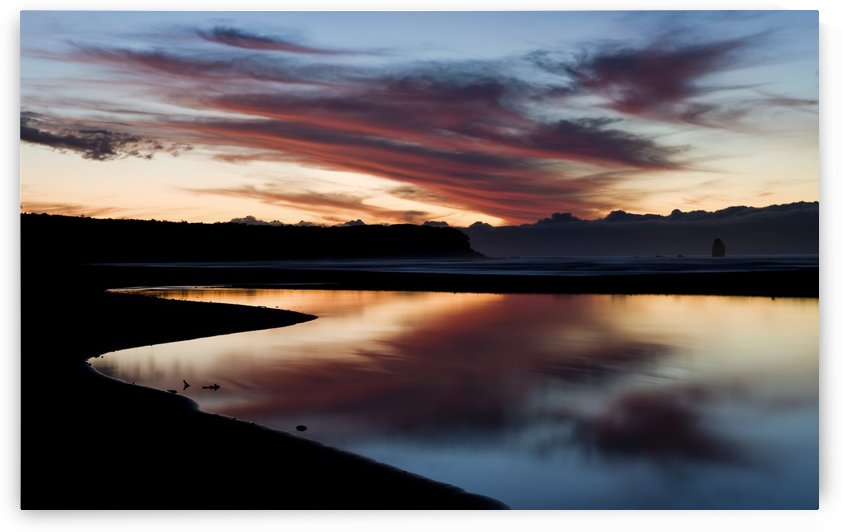 Sunset at Rapahoe beach on the West Coast; South Island, New Zealand by PacificStock