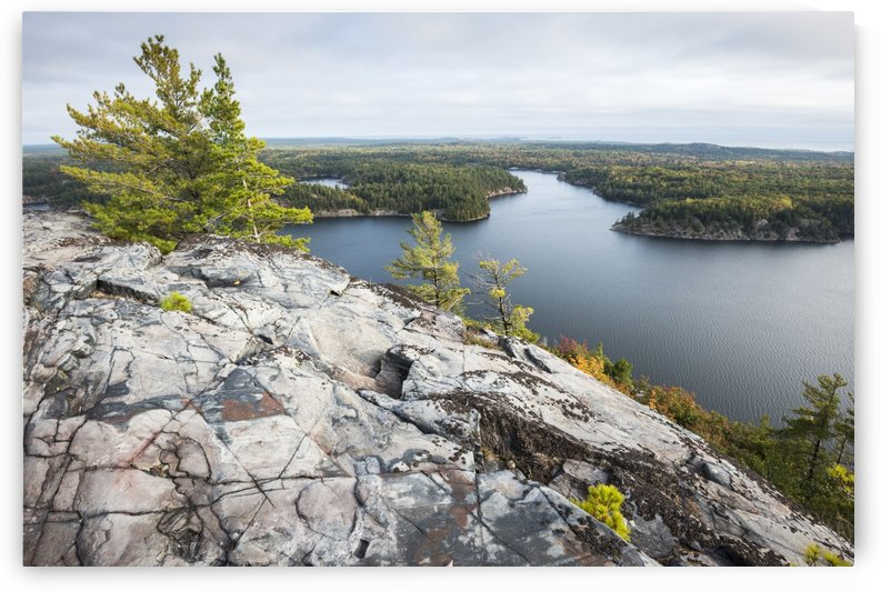 Beautiful view of a fall forest and George Lake from the mountain top; Killarney, Ontario, Canada by PacificStock