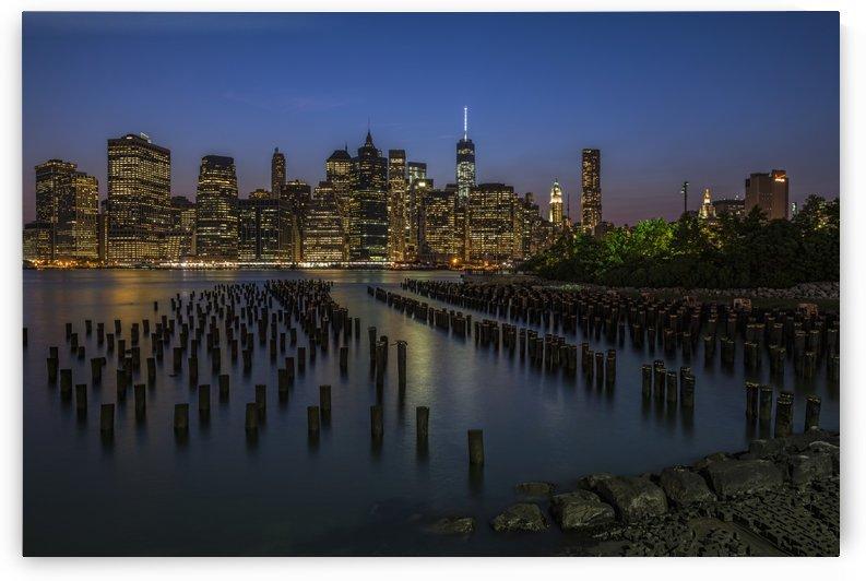 Manhattan skyline at twilight, Brooklyn Bridge Park; Brooklyn, New York, United States of America by PacificStock