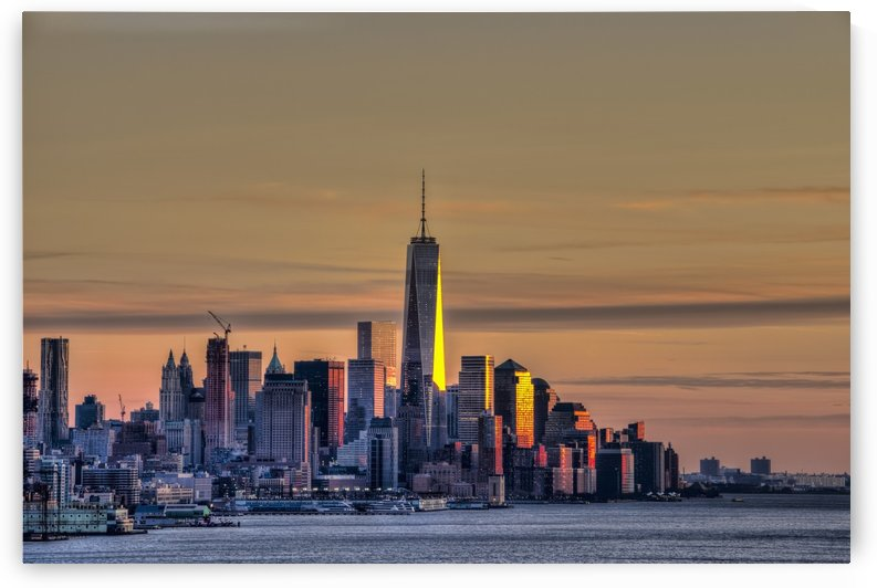 Sunset over Lower Manhattan and the World Trade Centre; New York City, New York, United States of America by PacificStock
