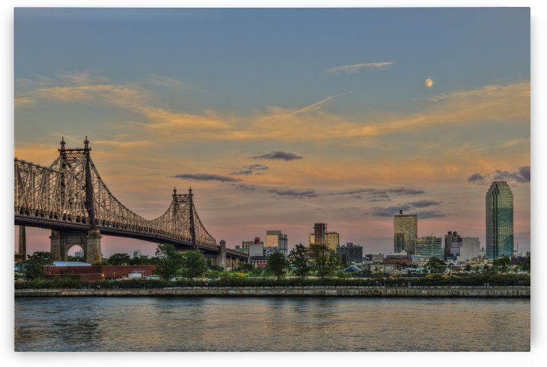 Moonrise over Queensboro (59th Street) Bridge and the Citibank Building; Queens, New York, United States of America by PacificStock