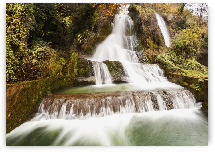 Waterfalls from the Edessaios river with autumn coloured foliage; Edessa, Greece by PacificStock
