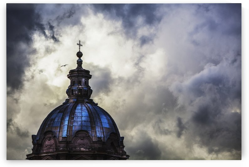 Light breaks through the turbulent clouds on the dome of the Santi Luca e Martina church; Rome, Italy by PacificStock