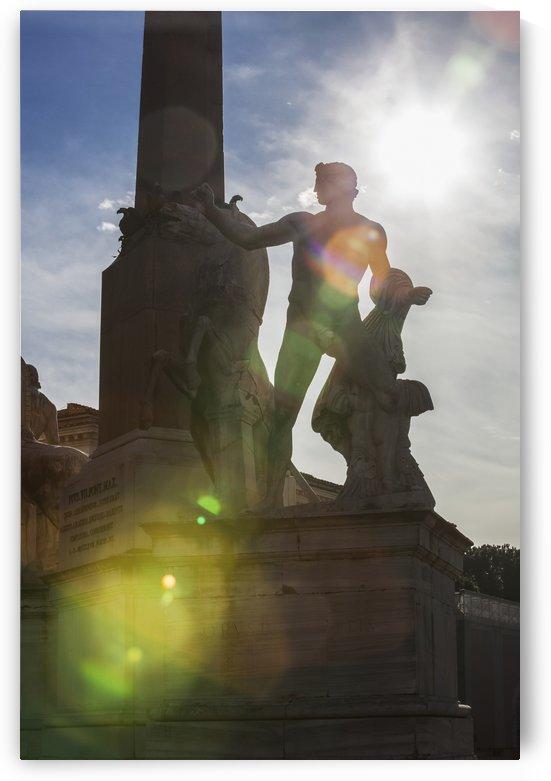 Fontana dei Dioscuri and obelisk in Palazzo del Quirinale; Rome, Italy by PacificStock