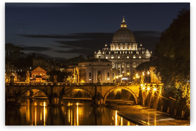 Saint Peter's Basilica, the world's largest church, at nighttime; Vatican City, Italy by PacificStock