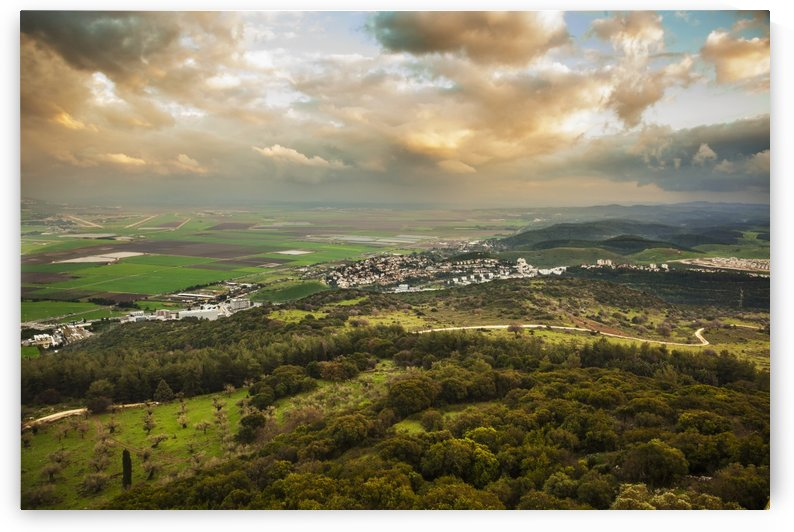 Mount Carmel with glowing clouds over Jezreel Valley; Israel by PacificStock