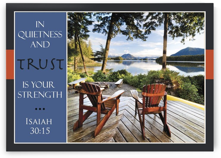Two adirondack chairs on a deck looking out over Jensen Bay, with a scripture verse from Isaiah 30:15; Tofino, British Columbia, Canada by PacificStock
