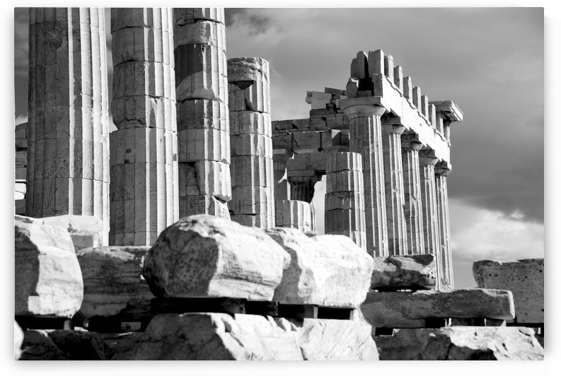 Mono piles of stones before ruined Parthenon; Athens, Attica, Greece by PacificStock