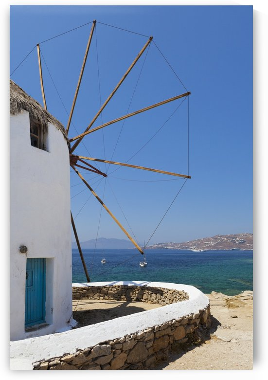 Traditional windmill; Chora, Mykonos, Greece by PacificStock