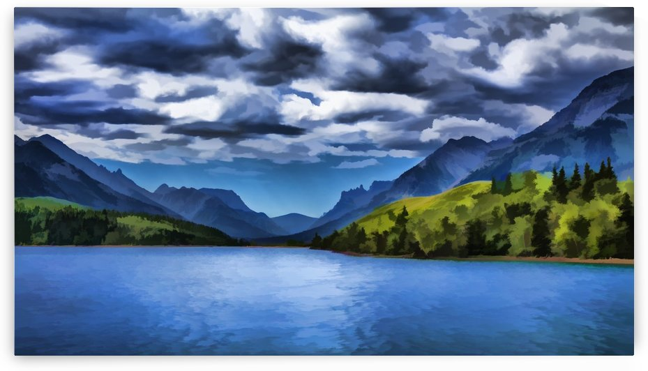 Painting of a lake and mountains in Waterton Lakes National park; Alberta, Canada by PacificStock