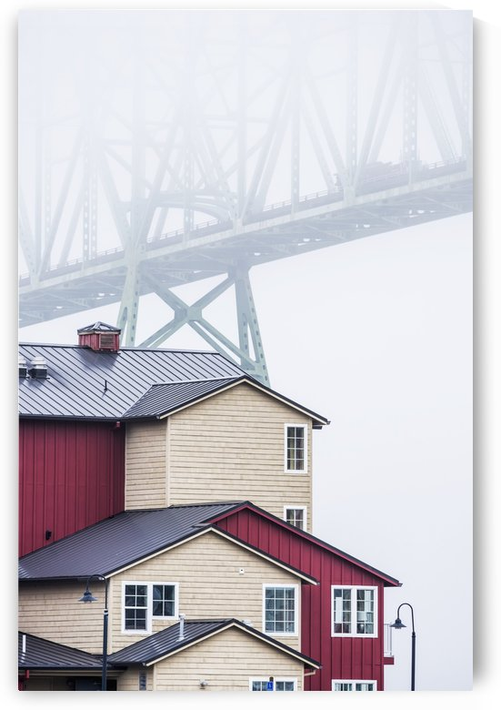 The Astoria-Megler Bridge disappears into the fog; Astoria, Oregon, United States of America by PacificStock
