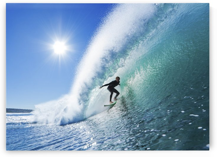 Surfer On Blue Ocean Wave by PacificStock