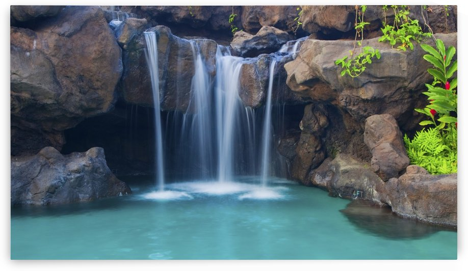 Waterfall into Resort Pool by PacificStock