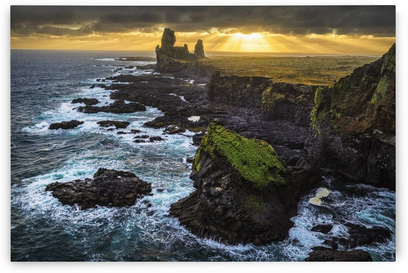 The sea stack known as Londranger rises above the landscape, Snaefellsnes Peninsula; Iceland by PacificStock