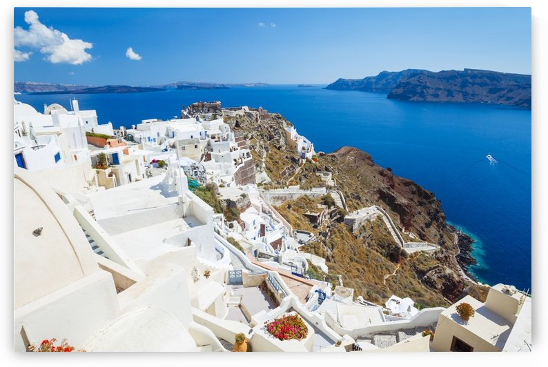 Santorini Island, Greece, Beautiful View of Blue Ocean and Traditional Dome Church Architecture by PacificStock