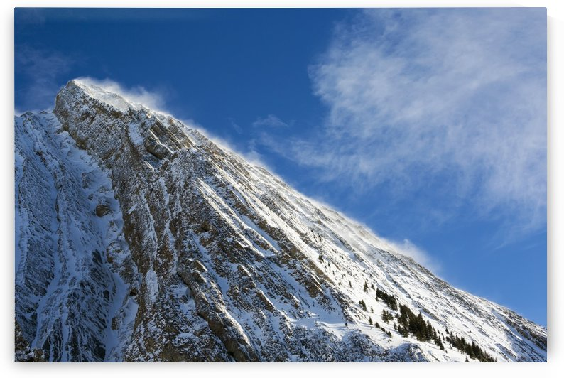 Close up of a snow covered mountain peak with wind blowing snow off the slope with blue sky and clouds; Kananaskis Country, Alberta, Canada by PacificStock