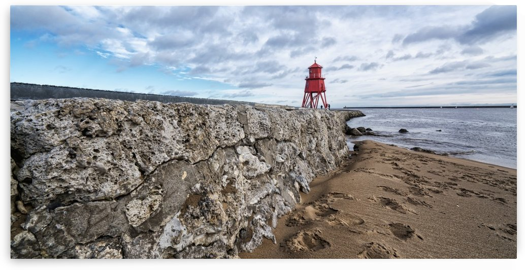 Herd Groyne Lighthouse; South Shields, Tyne and Wear, England by PacificStock