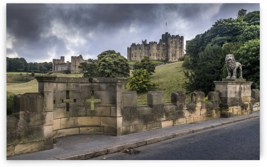 Alnwick Castle with crosses in the stone wall; Alnwick, Northumberland, England by PacificStock