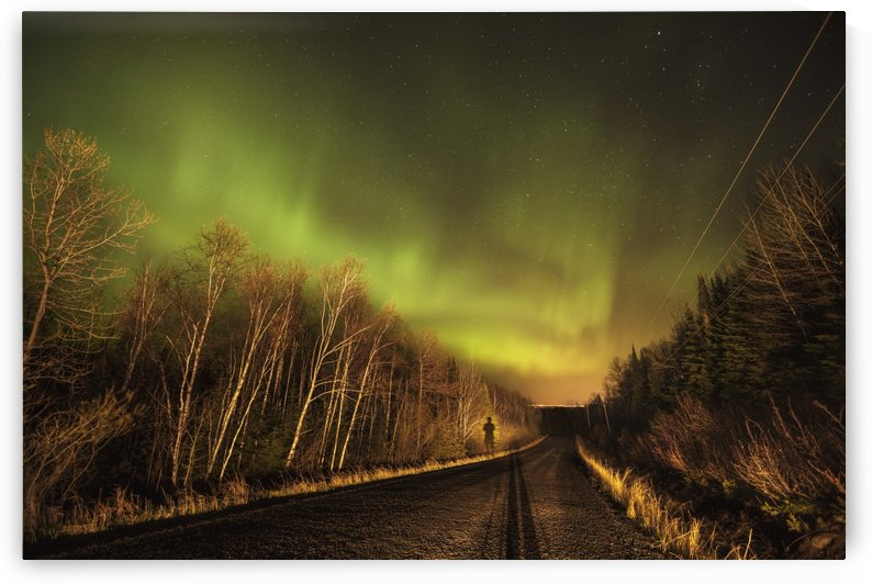 Aurora borealis over road; Thunder Bay, Ontario, Canada by PacificStock