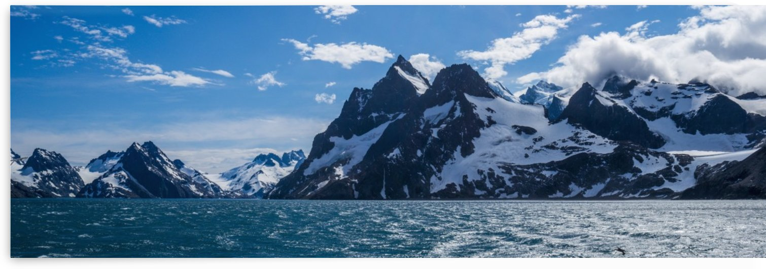 Panorama of mountains at entrance to fjord; Antarctica by PacificStock