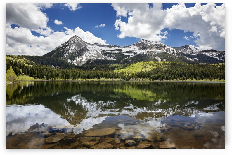 Snowcapped East Beckwith mountain in the background reflected in Lost Lake Slough; Colorado, United States of America by PacificStock