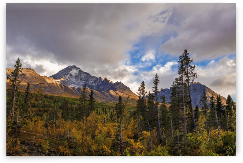 Mount Diamond in the Chugach Mountains and along the Richardson Highway, with a light dusting of snow as the brush at its base is starting to change colour; Valdez, Alaska, United States of America by PacificStock