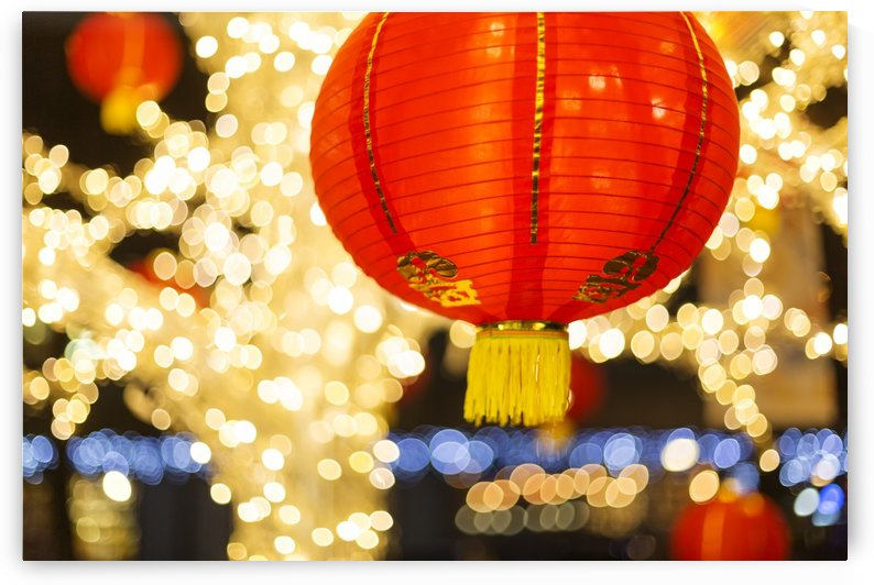 Red and gold Chinese lantern with sparkling white lights in the background, Granville Island; Vancouver, British Columbia, Canada by PacificStock