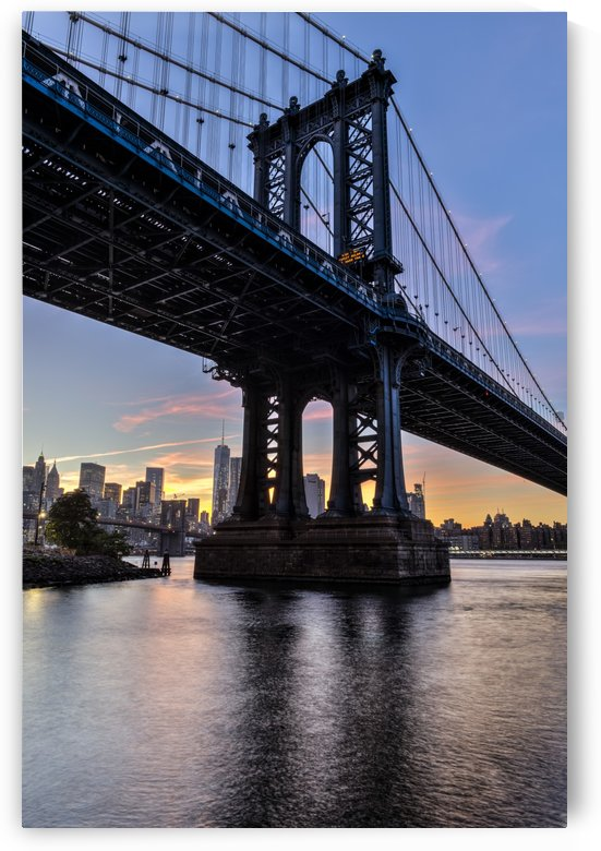 Manhattan Bridge and NYC skyline at sunset, Brooklyn Bridge Park; Brooklyn, New York, United States of America by PacificStock
