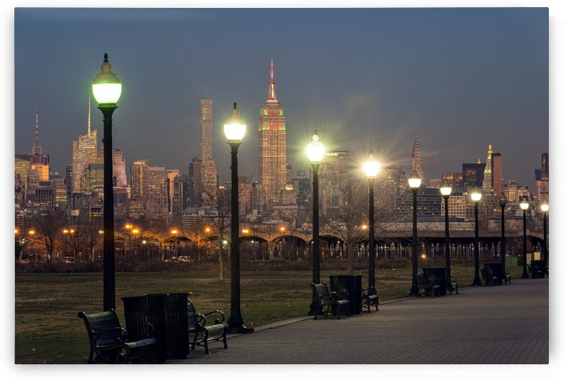 Manhattan skyline at twilight, Liberty State Park; Jersey City, New Jersey, United States of America by PacificStock