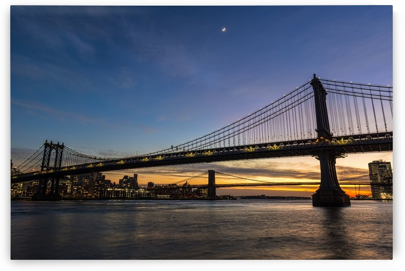 Manhattan and Brooklyn Bridges at twilight; New York City, New York, United States of America by PacificStock