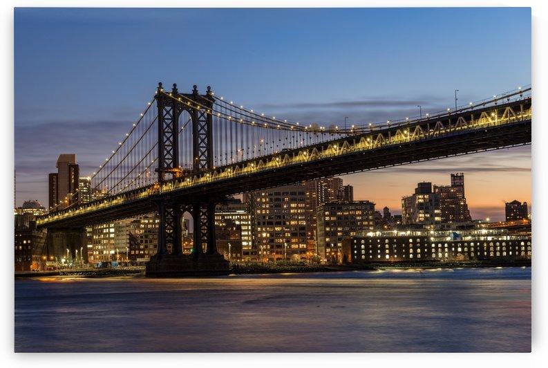 Manhattan Bridge at twilight; Brooklyn, New York, United States of America by PacificStock