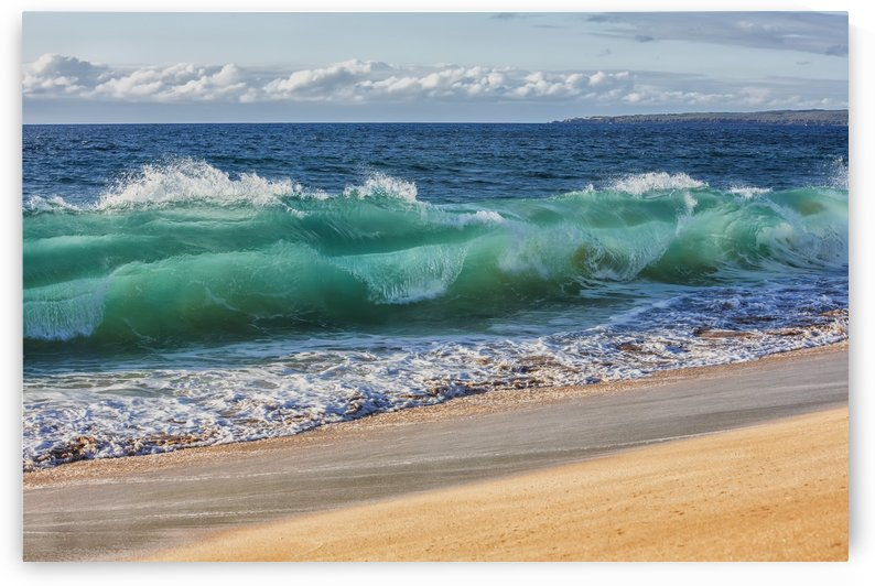 Turquoise ocean water in a curled wave along the beach; Hawaii, United States of America by PacificStock