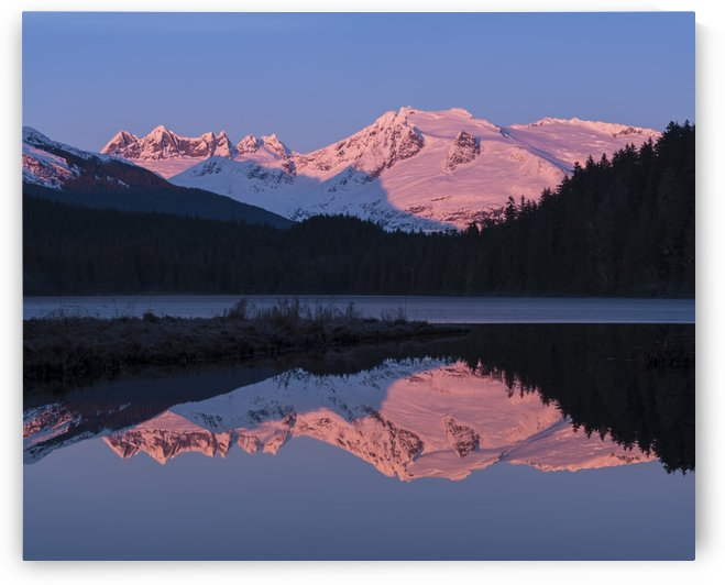 Mountains glowing pink at sunrise and silhouetted forest reflected in a tranquil lake; Juneau, Alaska, United States of America by PacificStock