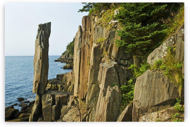 Balancing rock, basalt rock cliffs, Bay of Fundy; Long Island, Nova Scotia, Canada by PacificStock
