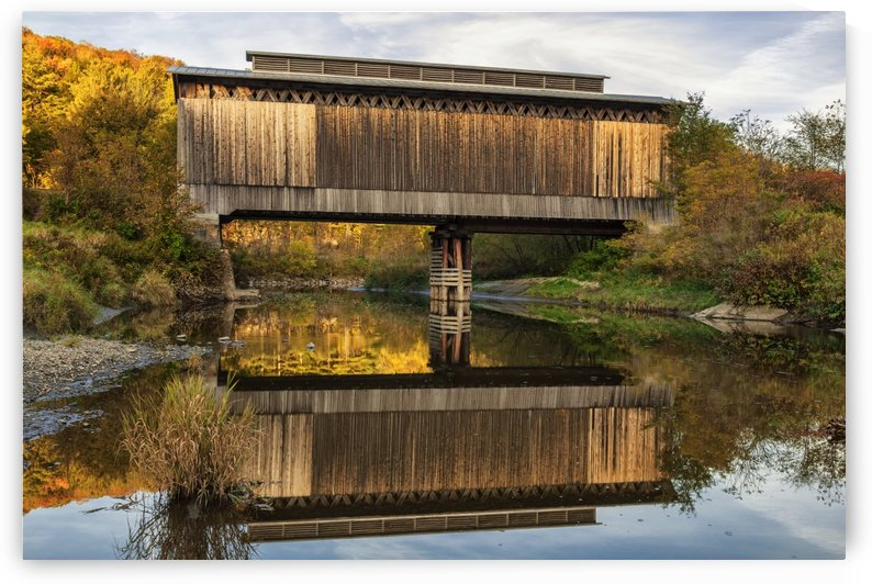 Fisher covered railroad bridge over Lamoille River in autumn; Wolcott, Vermont, United States of America by PacificStock