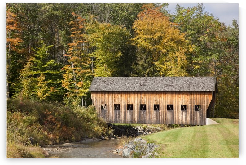 Covered bridge in Vermont during autumn; Hammondsville, Vermont, United States of America by PacificStock