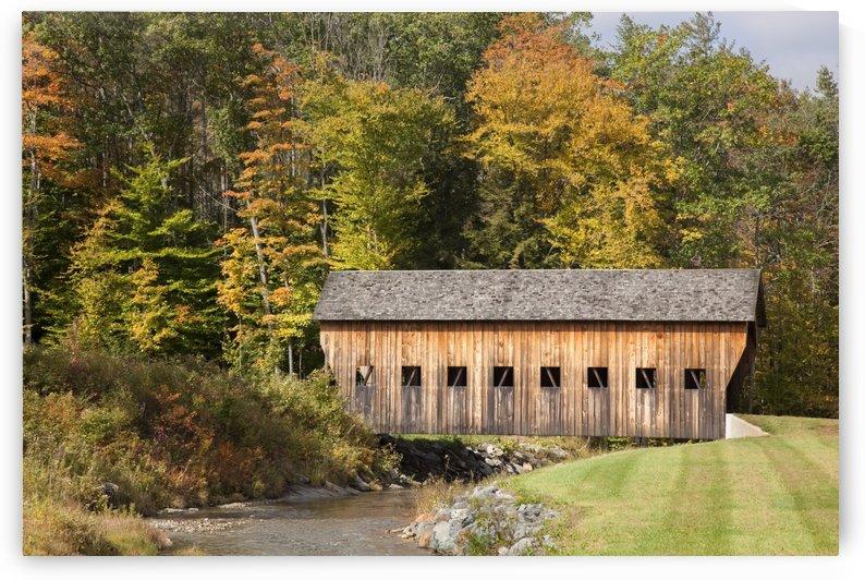 Covered bridge in Vermont during autumn; Hammondsville, Vermont, United States of America by PacificStock